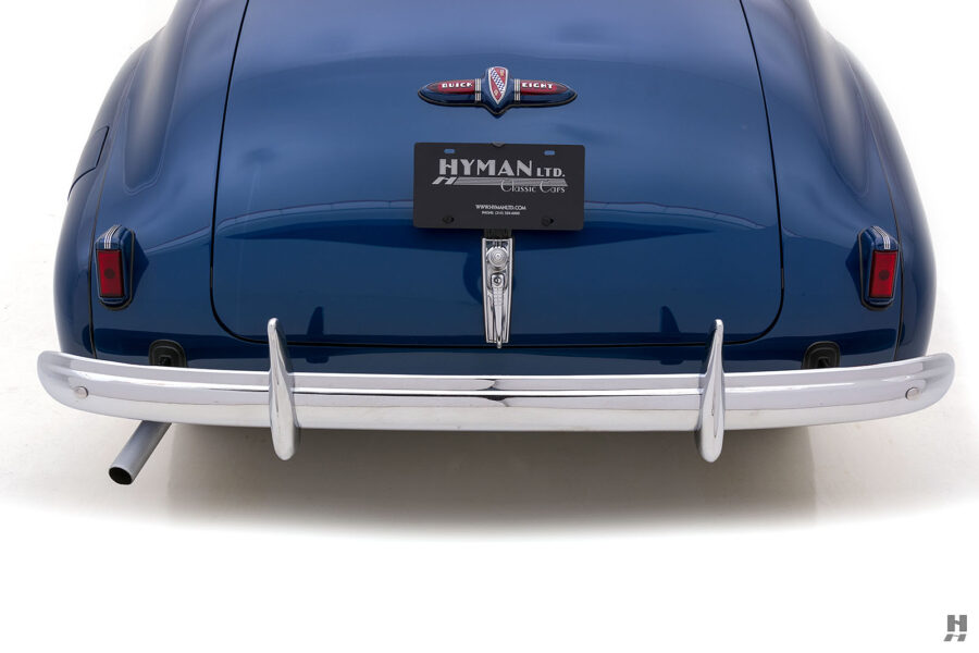 Close up of back end of vintage 1939 Buick Convertible car for sale at Hyman consignment dealers
