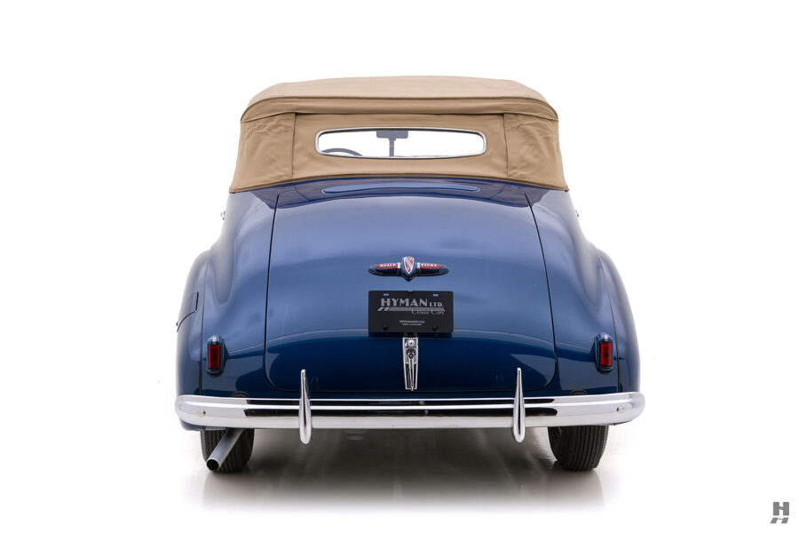 Back end of classic 1939 Buick Convertible for sale at vintage car dealership in Missouri