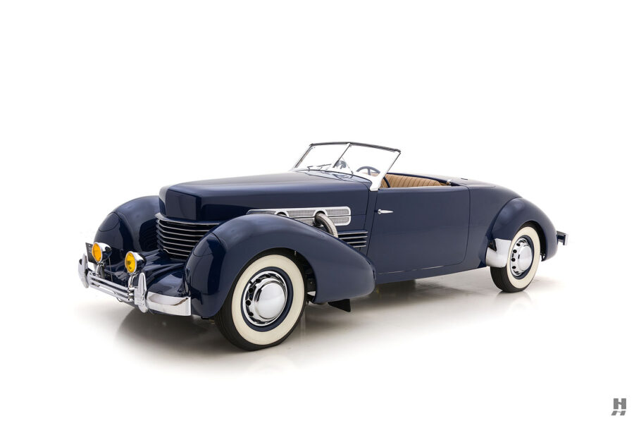 angled front view of 1937 cord 812 cv for sale at hyman classic cars