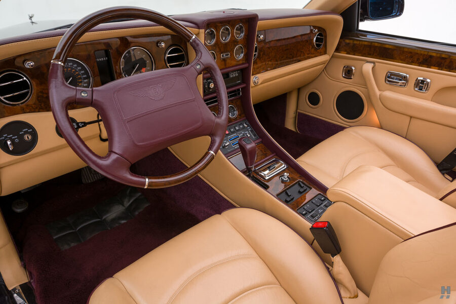 Angled View of Steering Wheel and Dashboard on Classic 2001 Bentley Car For Sale at Hyman Dealers in St. Louis