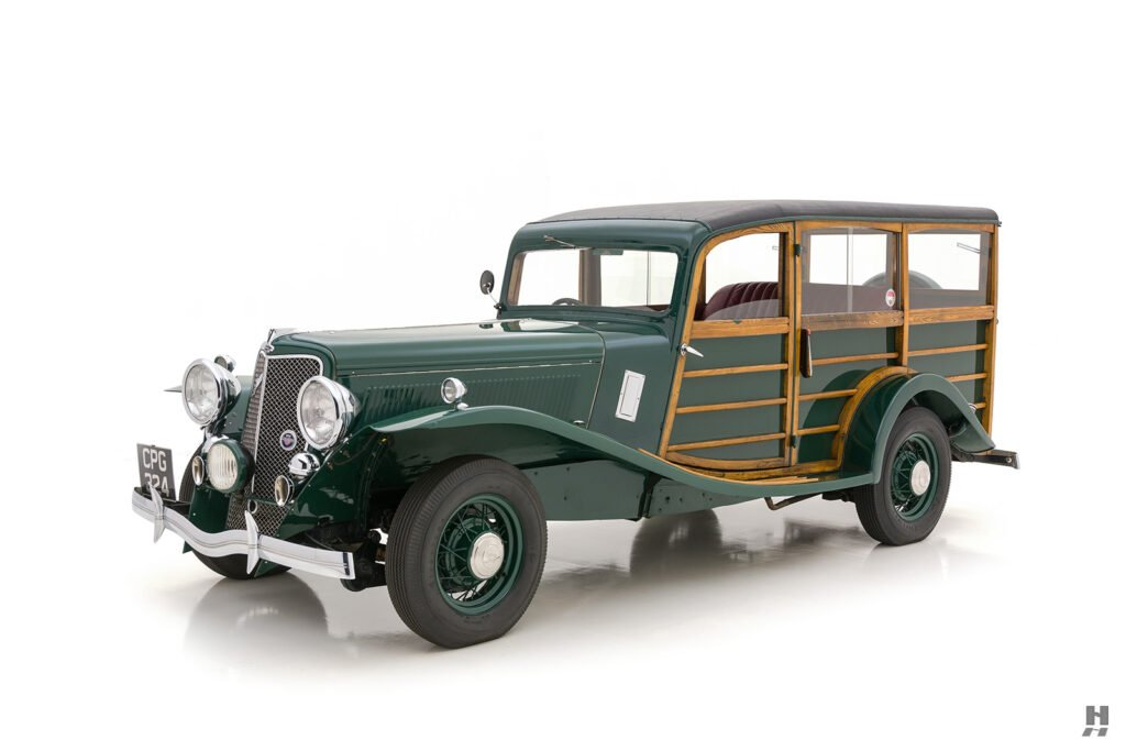 angled side view of old jensen ford shooting brake for sale at hyman car dealers