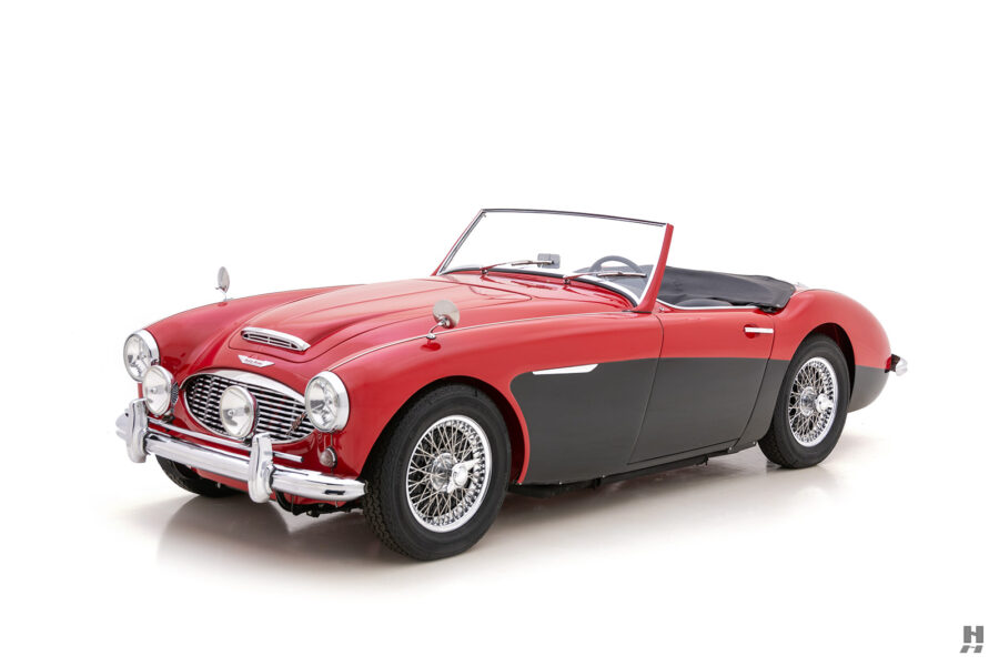 Angled Front Right Side View of Classic 1959 Austin Healey For Sale at Hyman Consignment Dealership
