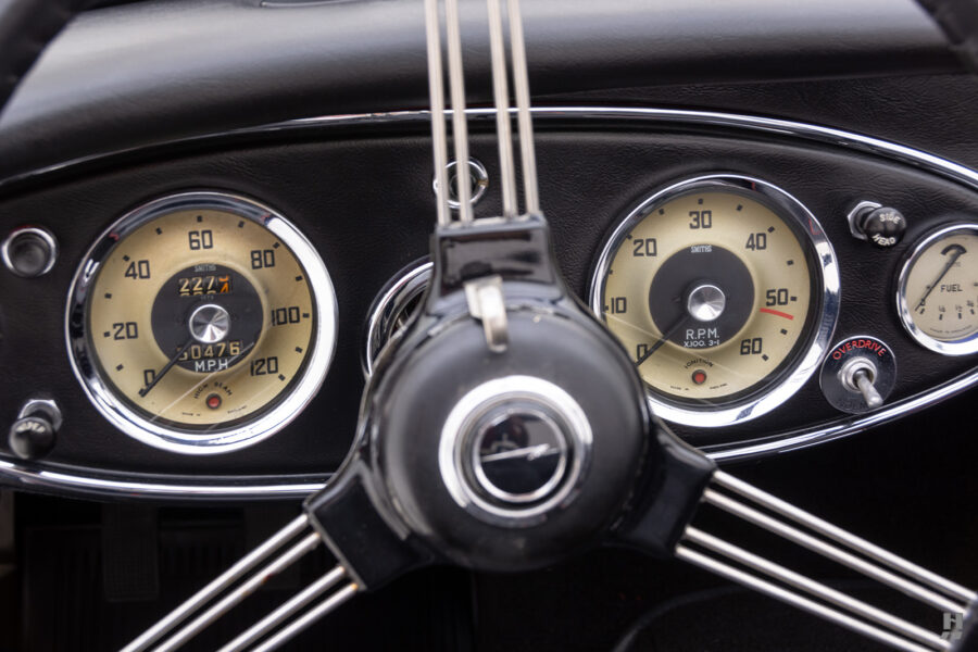 Close Up of Speedometers on Classic Austin Healey Car For Sale at Hyman