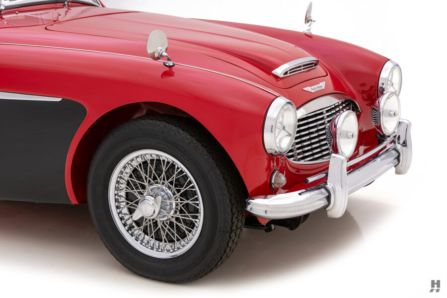 Angled Side View of Classic Austin Healey For Sale at Hyman Automobile Dealers in St. Louis