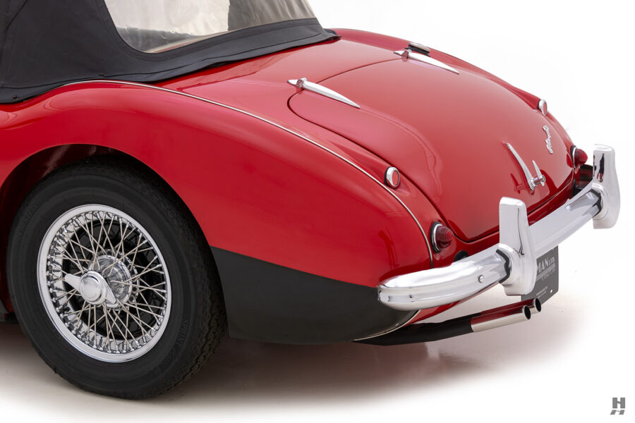 Angled Left Side Back View of Classic Austin Healey Car For Sale at Hyman Automobile Dealers in St. Louis