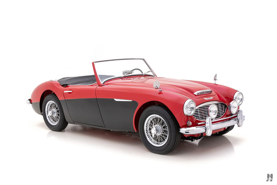 Angled Front View of Classic 1959 Austin Healey Sports Car for Sale at Hyman Dealers in St. Louis
