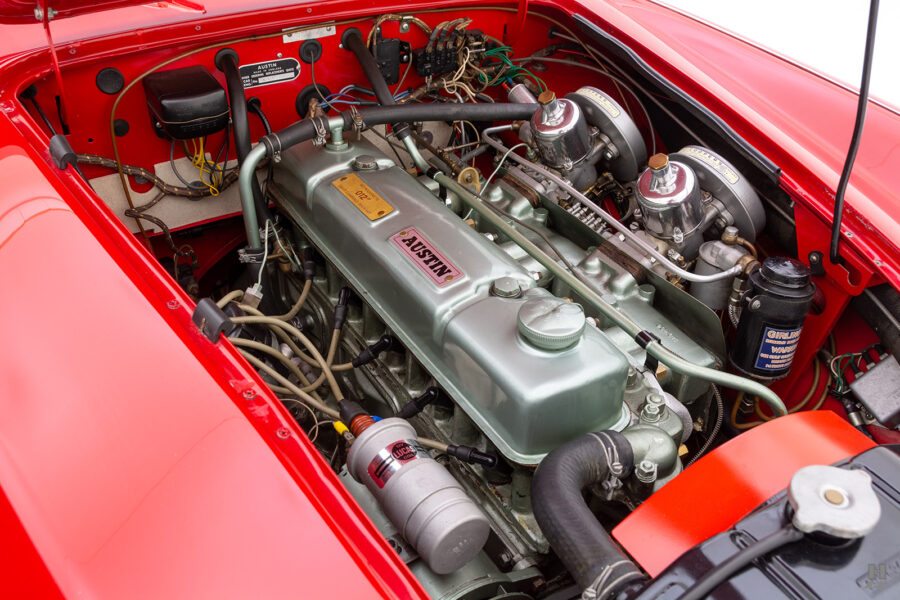 Engine on Classic 1959 Austin Healey For Sale at Hyman Automobile Dealers in St. Louis