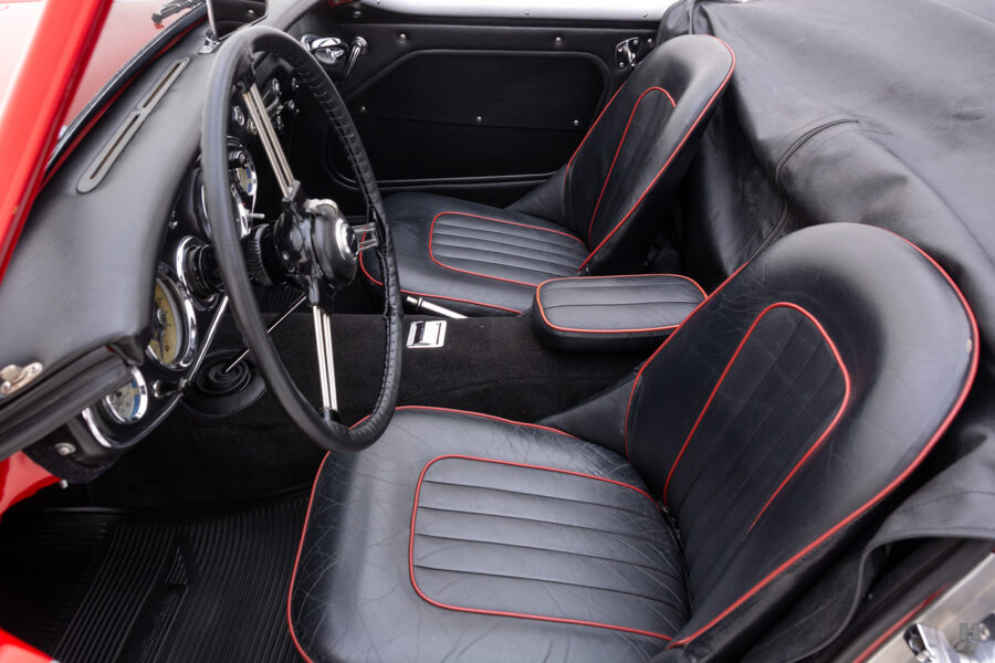 Angled Left Side Interior View of Front Seats in Classic Austin Healey For Sale at Hyman