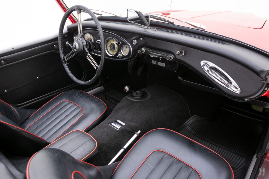 Angled Interior View of Classic Austin Healey Car For Sale at Hyman Automobile Dealers