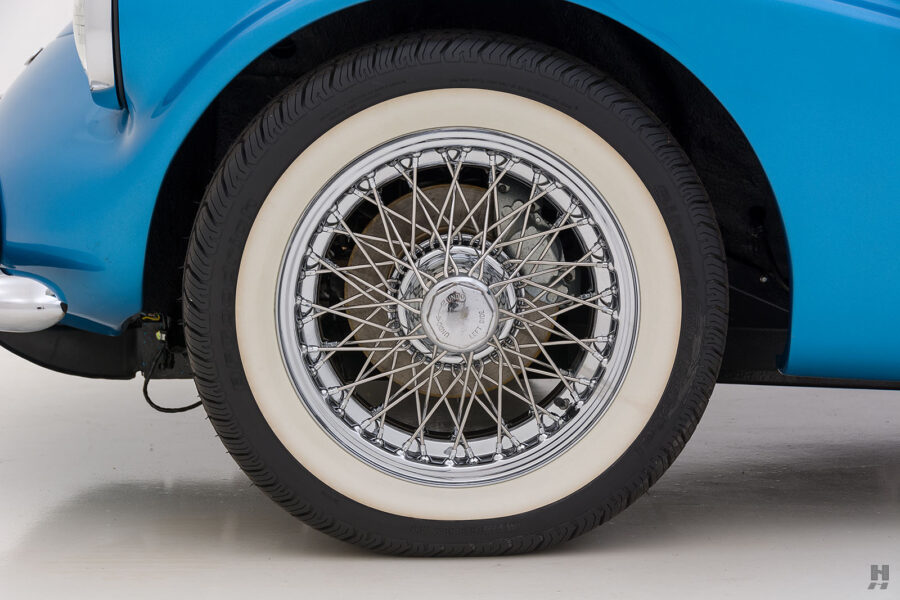 View of Front Tire on Exotic 1957 Daimler SP250 Car For Sale at Hyman Dealership in St. Louis