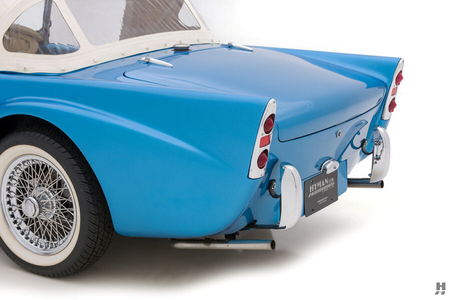 Back Left Side View of Historic 1957 Daimler SP250 Car For Sale at Hyman Dealership in St. Louis