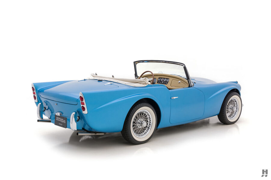 Angled Right View of Back of Classic 1957 Daimler SP250 Automobile For Sale at Hyman in St. Louis