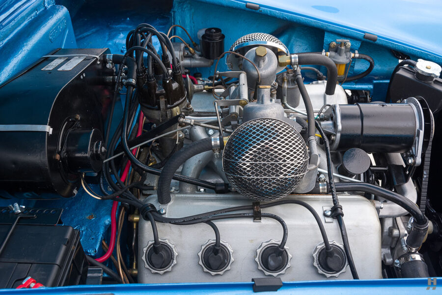 Left Side View of Engine on Rare 1957 Daimler SP250 Car For Sale at Hyman Auto Dealers in St. Louis