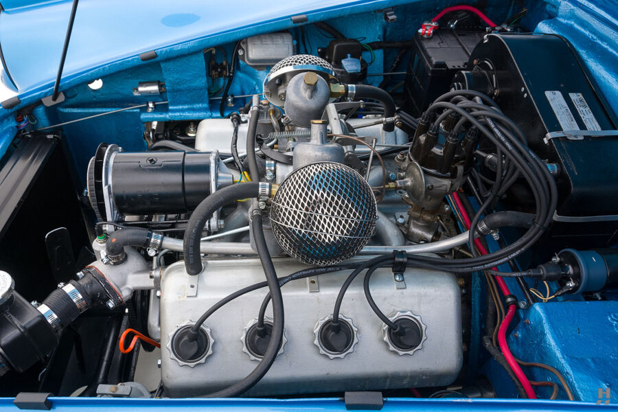 Inside View of Engine on Classic 1957 Daimler SP250 Car For Sale at Hyman Auto Dealership in St. Louis