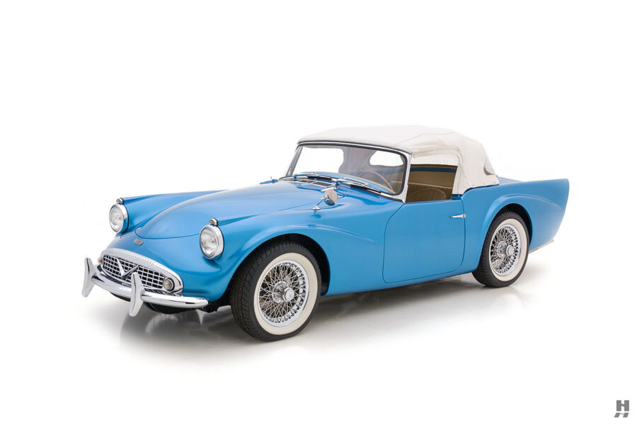 Angled Right Side View of Front of Rare 1957 Daimler SP250 For Sale at Hyman in St. Louis