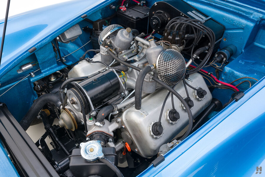 Inside View of Engine in 1957 Daimler SP250 Car For Sale at Hyman Cars and Automobiles in St. Louis, Missouri
