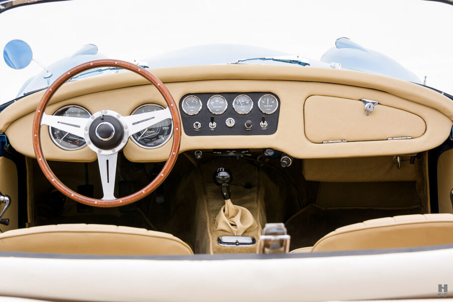 Straight On View of Dashboard and Steering Wheel of Unique 1957 Daimler SP250 at Hyman Automobile Dealership in St. Louis, Missouri