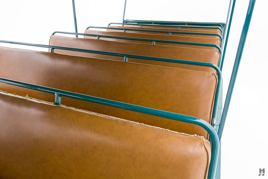 close up of seats on restored ford model bb touring bus for sale at hyman car dealers