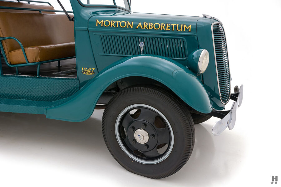 angled front view of restored ford model bb touring bus for sale at hyman car dealers