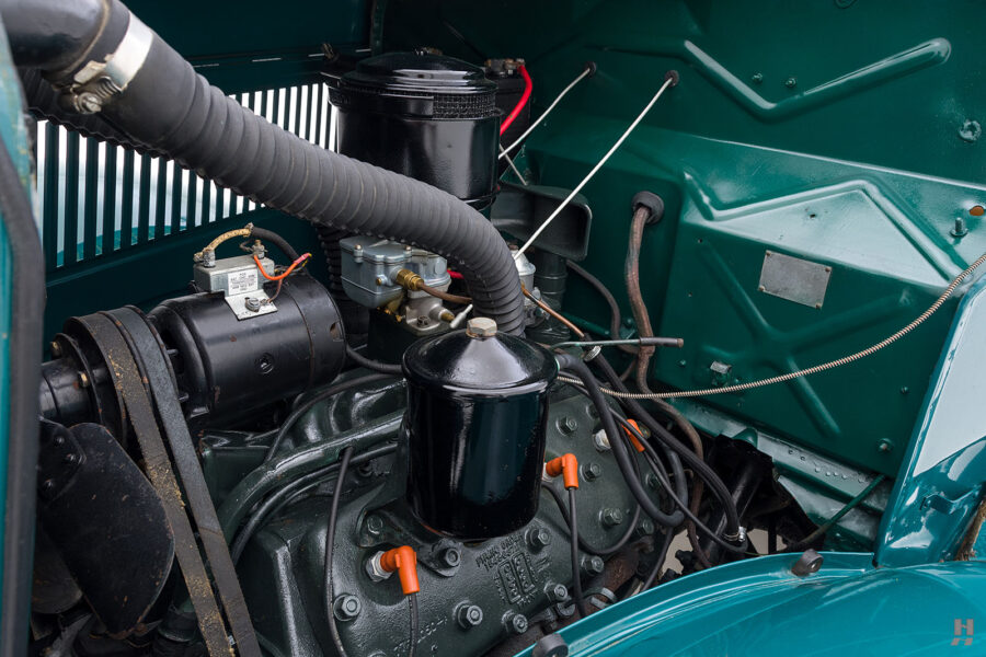 engine on restored ford model bb touring bus for sale at hyman car dealers