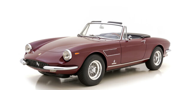 Angled front view of classic 1967 Ferrari Spyder car for sale at Hyman consignment dealers near you