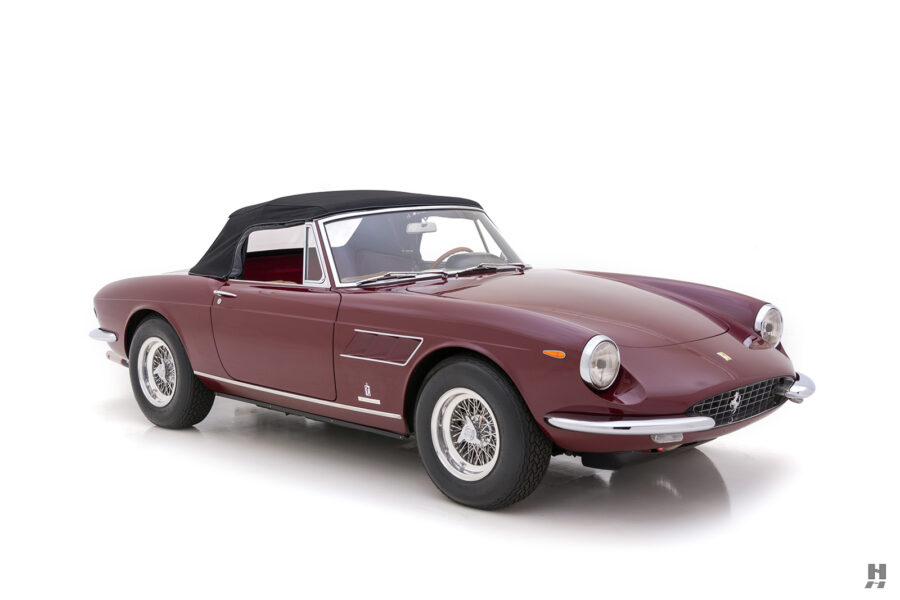 Angled front view of classic 1967 Ferrari car for sale at Hyman consignment dealers near you