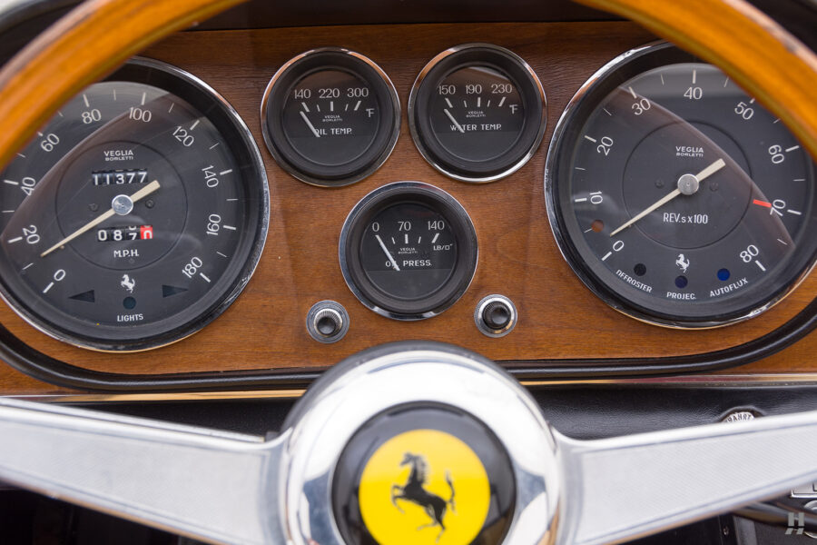 Speedometers on classic 1967 Ferrari for sale at Hyman consignment car dealers in St. Louis, Missouri