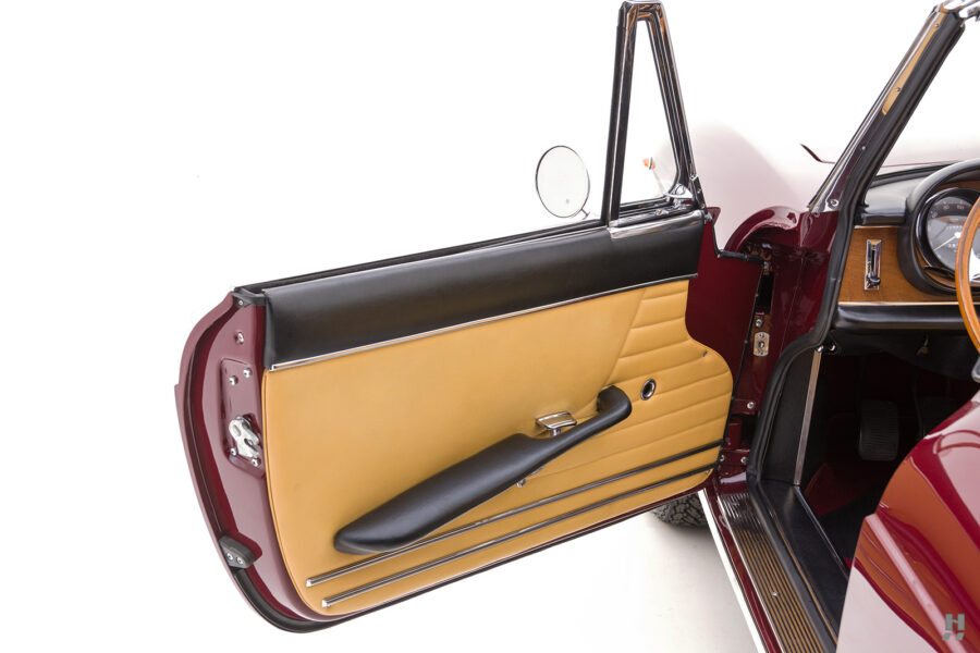 Driver's side door on classic 1967 Ferrari Spyder Convertible for sale at Hyman consignment dealers in St. Louis, Missouri