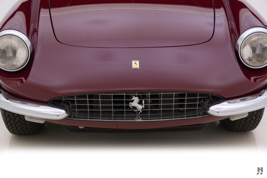 Close up front view of classic 1967 Ferrari Spyder Convertible for sale at Hyman vehicle consignment dealers in St. Louis, Missouri