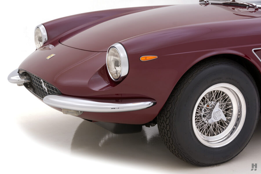 Angled front view of classic 1967 Ferrari car for sale at Hyman vehicle consignment dealers in St. Louis