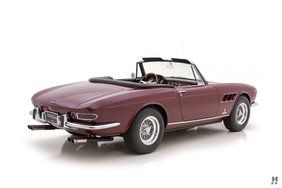 Backside view of classic 1967 Ferrari Spyder Convertible car for sale at Hyman consignment dealers in St. Louis, Missouri