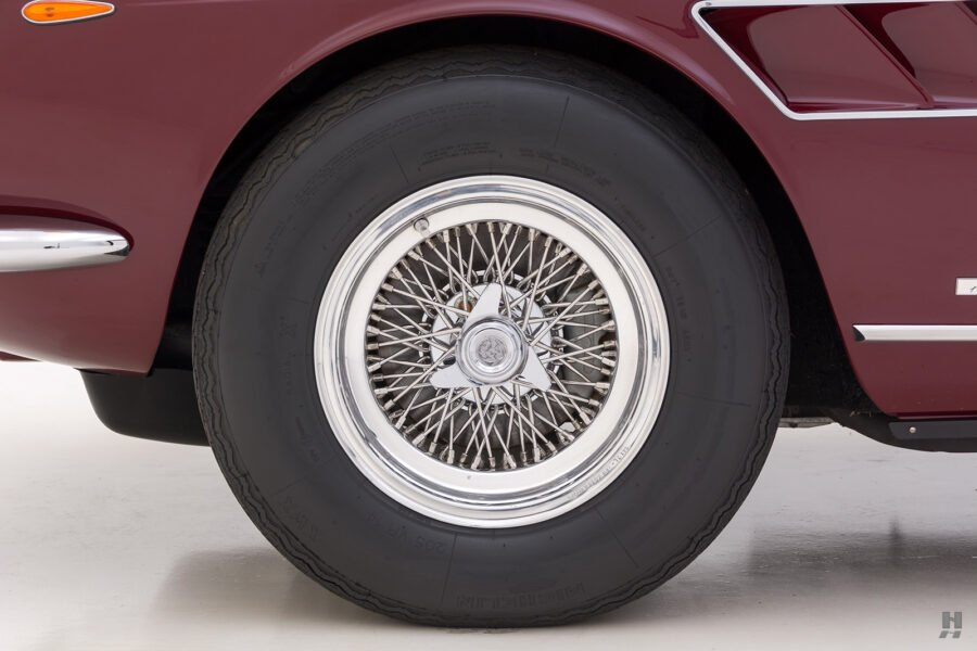 Back tire on classic 1967 Ferrari Spyder Convertible for sale at Hyman vehicle consignment dealers in St. Louis, Missouri