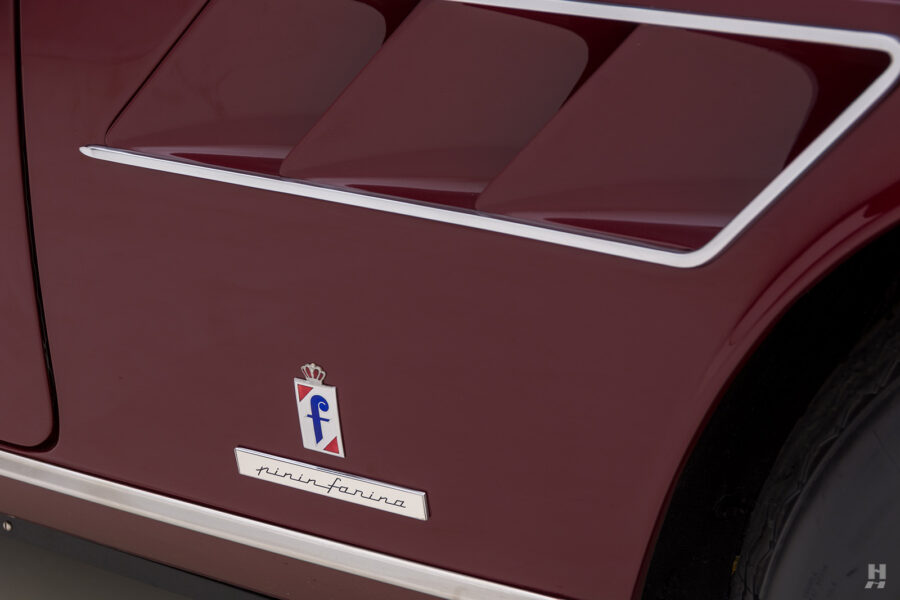 Logo on classic 1967 Ferrari car for sale at Hyman consignment dealers in St. Louis, Missouri