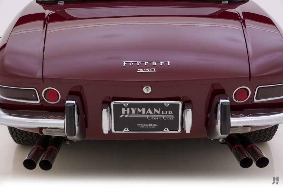 Backside of classic 1967 Ferrari for sale at Hyman consignment dealers in St. Louis, Missouri
