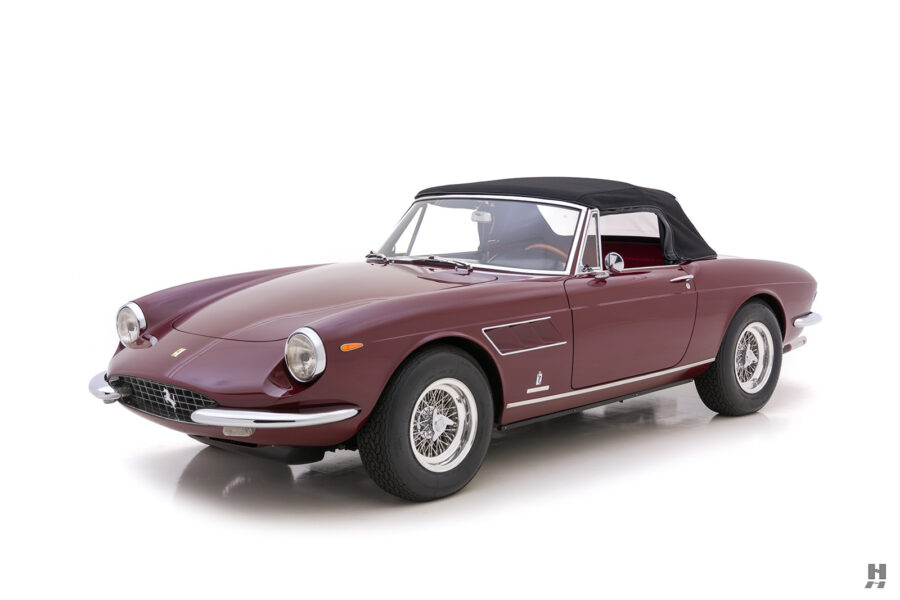 Angled front view of classic 1967 Ferrari GTS Spyder for sale at Hyman consignment dealers in St. Louis, Missouri