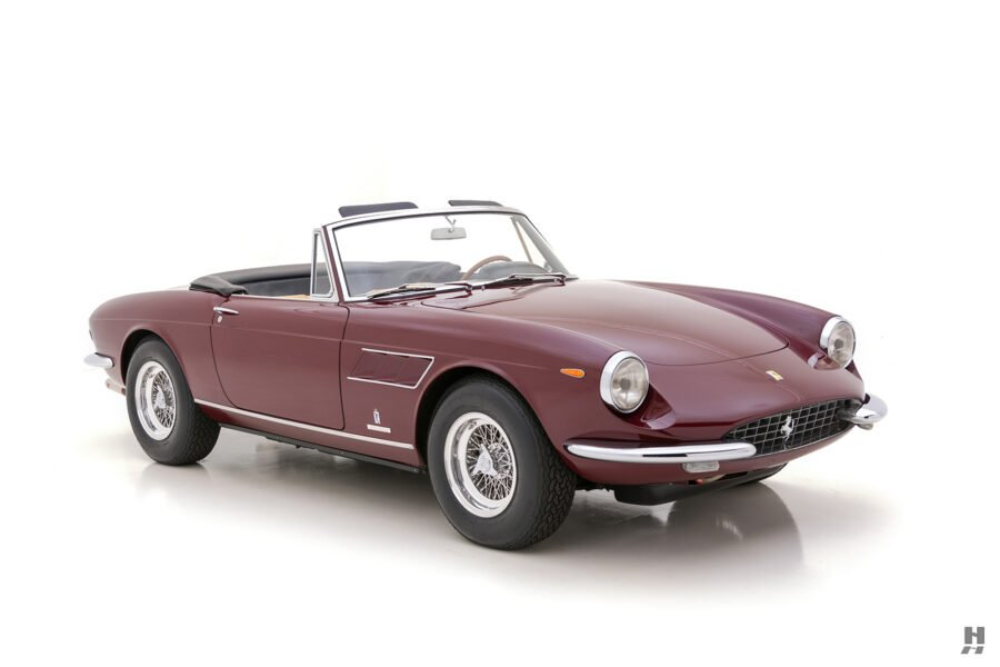 Angled front view of classic Ferrari GTS Spyder Convertible for sale at Hyman dealers in St. Louis, Missouri