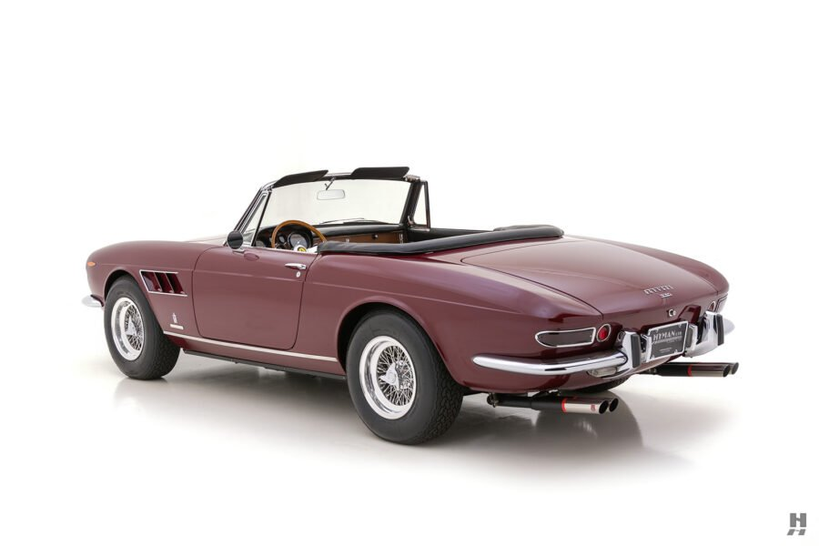 Angled backside view of classic 1967 Ferrari GTS Spyder Convertible for sale at Hyman in St. Louis, Missouri