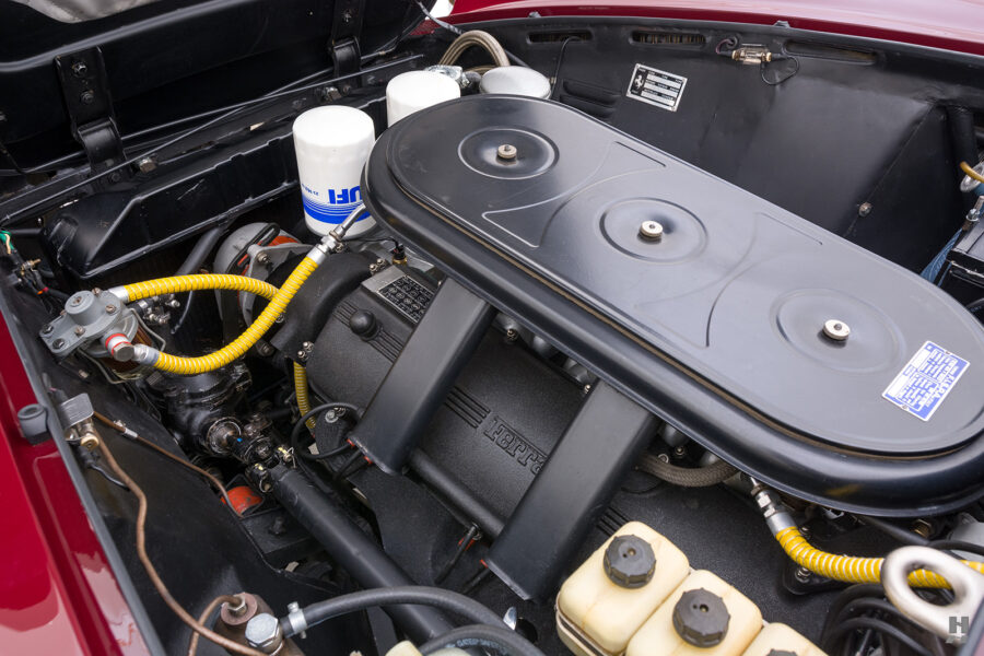 Engine in classic 1967 Ferrari Spyder Convertible for sale at Hyman car dealers in St. Louis, Missouri