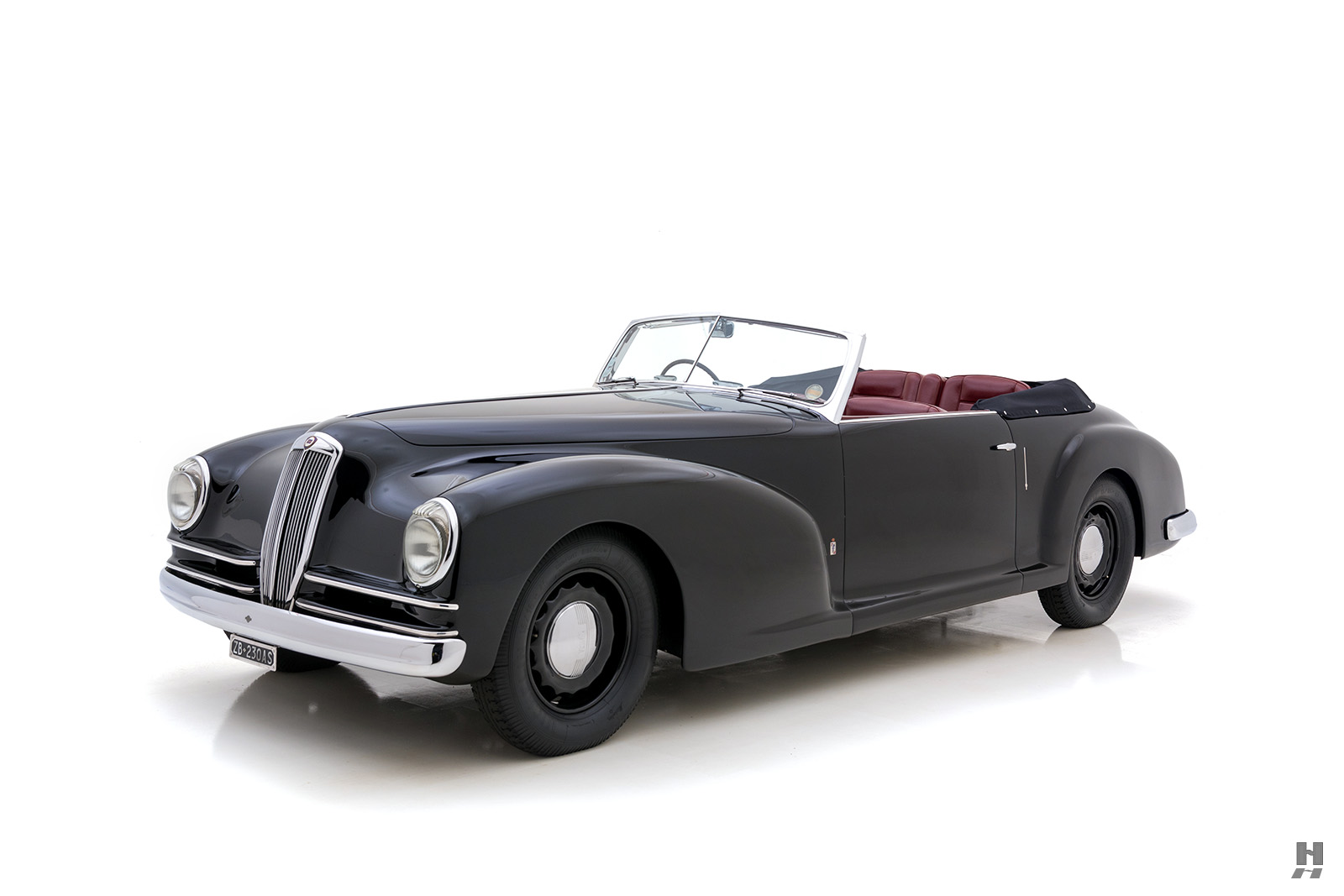 angled frontside of vintage 1938 lancia cabriolet for sale at hyman classic cars