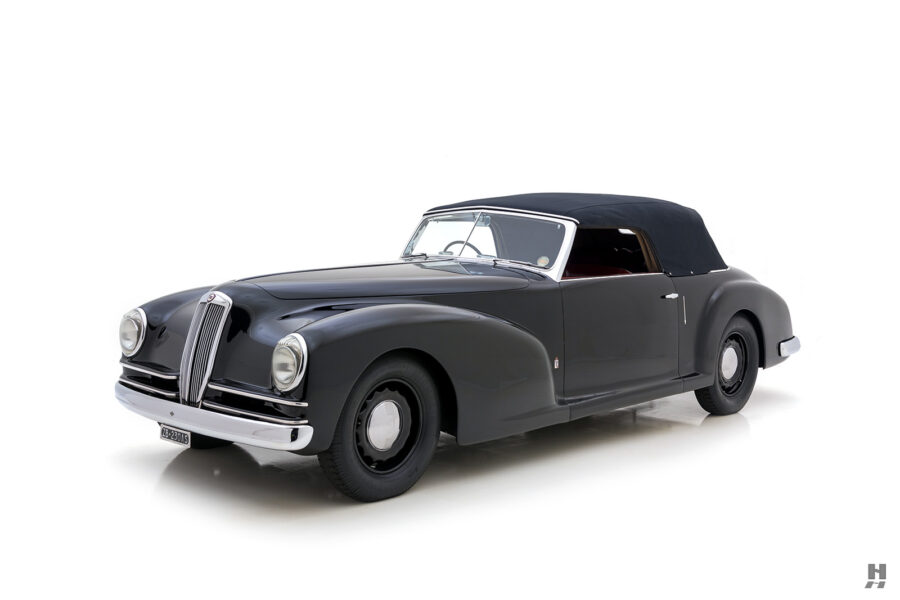angled side view of classic 1938 lancia cabriolet for sale at Hyman dealers in St. Louis