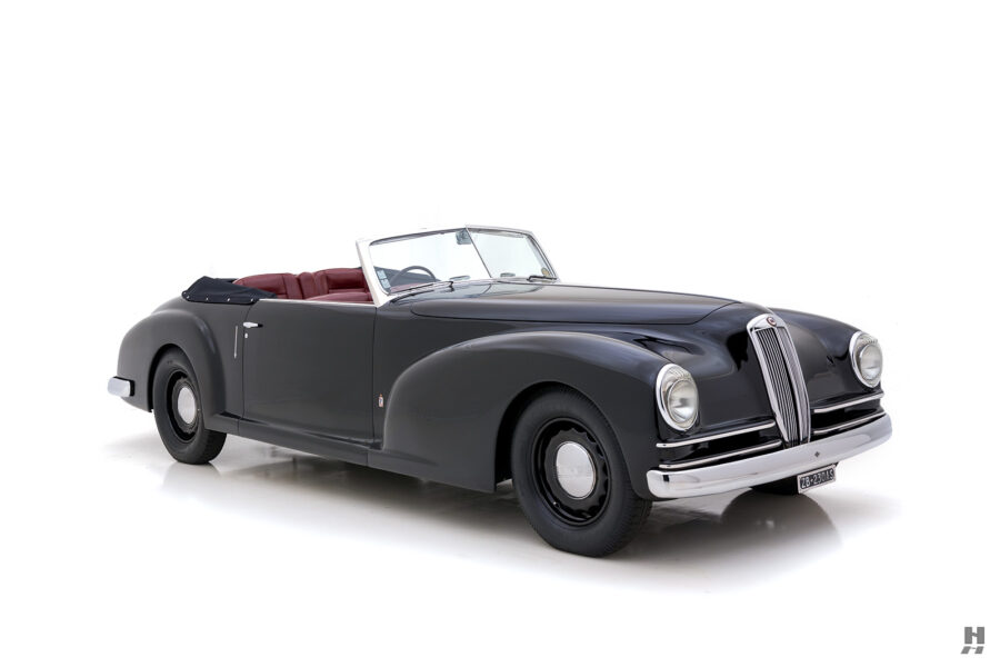 angled view of classic 1938 lancia cabriolet car for sale at Hyman dealers