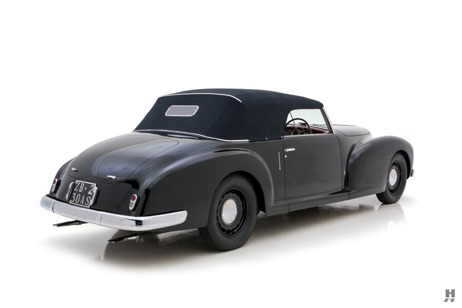 angled view of 1938 lancia cabriolet car for sale at Hyman in St. Louis