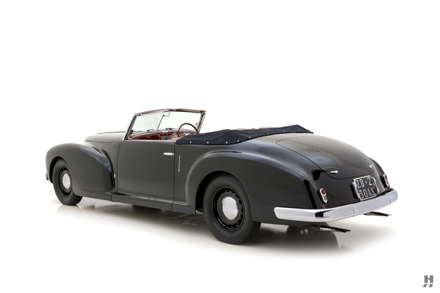 angled view of 1938 lancia cabriolet car for sale at Hyman dealers