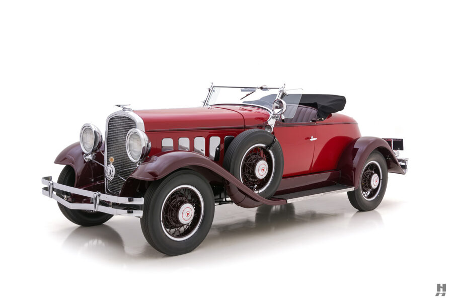 Angled Front Right Side View of Antique 1931 Hudson Speedster at Hyman Automobile Dealers in St. Louis