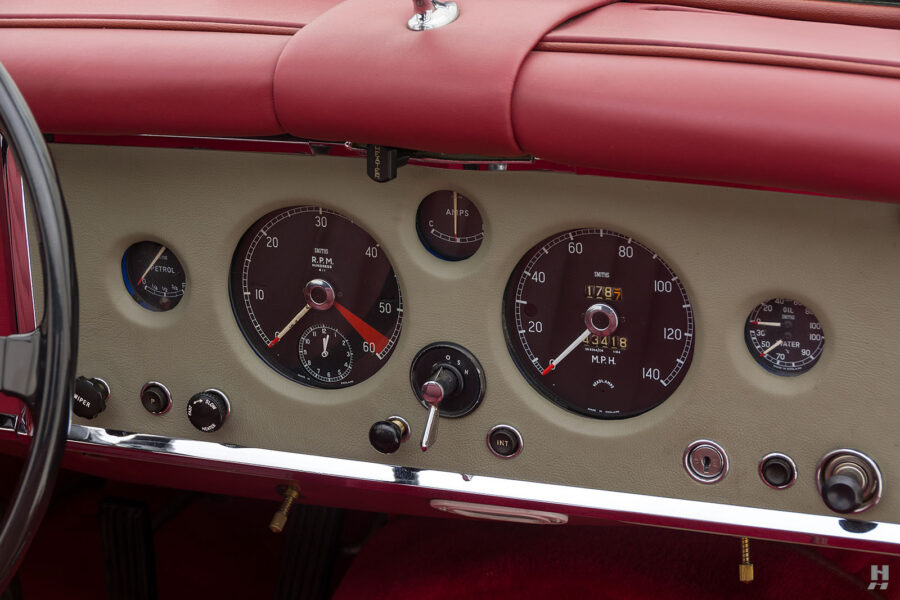 dashboard of antique jaguar coupe for sale at hyman classic cars