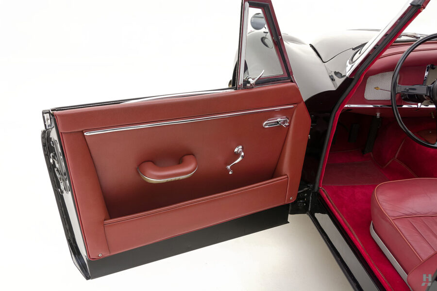 driver's side door of antique jaguar coupe for sale at hyman classic cars