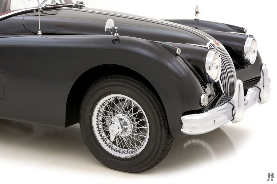 angled frontside of antique jaguar coupe for sale at hyman classic cars