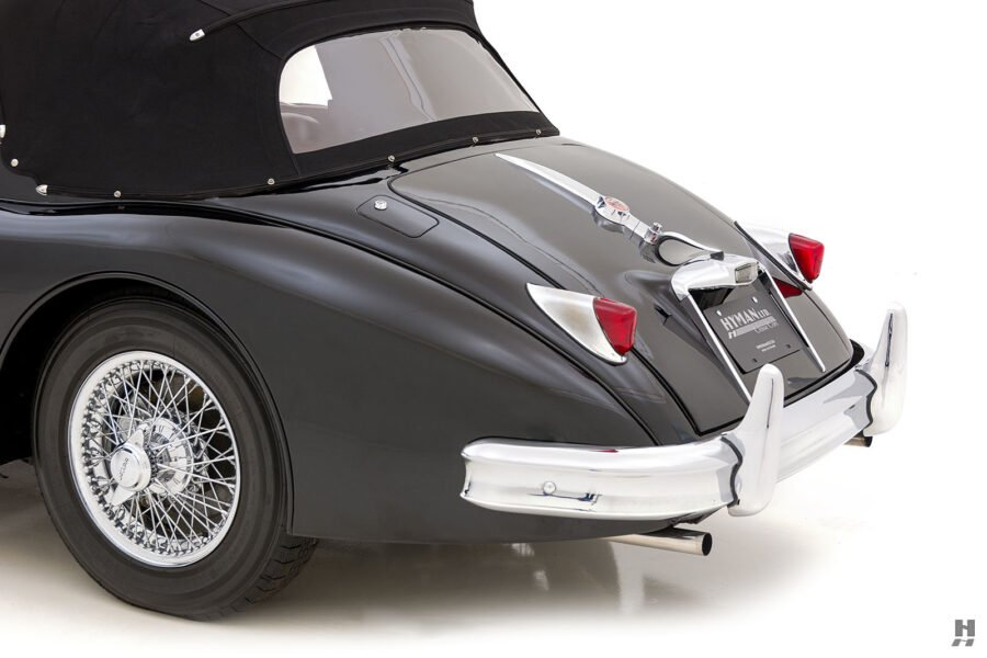 angled backside of antique jaguar coupe for sale at hyman classic cars
