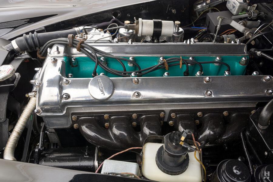 engine on antique jaguar coupe for sale at hyman classic cars
