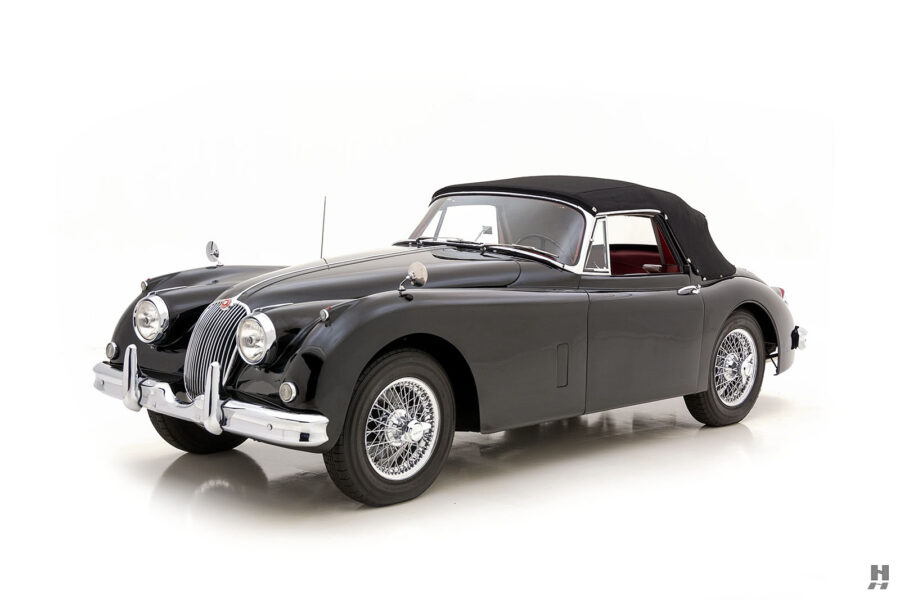 angled frontside view of antique jaguar coupe for sale at hyman classic cars